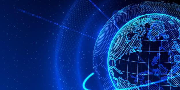 Concept global planète terre point fond noir