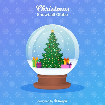 Concept de globe de boule de neige de noël au design plat