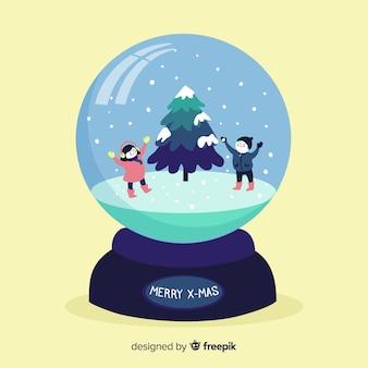 Concept de globe de boule de neige plat créatif