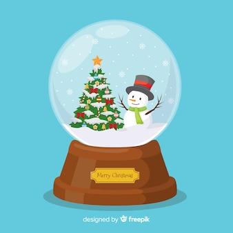Concept de globe de boule de neige plat de noël
