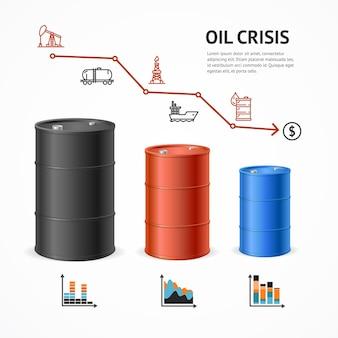 Concept de graphique de crise de l'industrie pétrolière. marché financier et icônes.