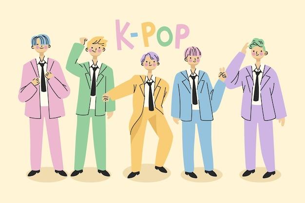 Concept De Groupe De Garçons K-pop Vecteur gratuit
