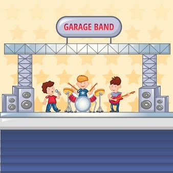 Concept de groupe de rock garage, style cartoon