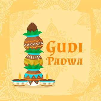 Concept gudi padwa dessiné à la main