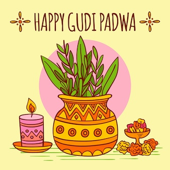 Concept de gudi padwa dessiné à la main