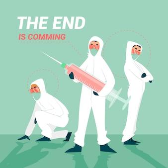 Concept de guérison des virus avec des personnes en costume de matières dangereuses