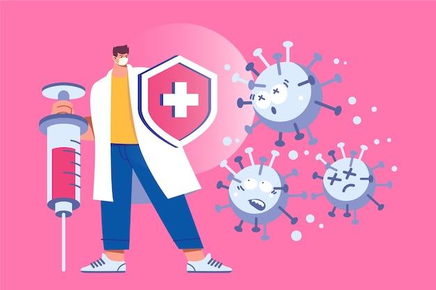 Concept de guérison de virus avec scientifique