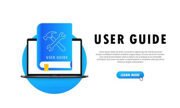 Concept guide de l'utilisateur faq livre pour page web, bannière, médias sociaux. guide de l'utilisateur. illustration vectorielle