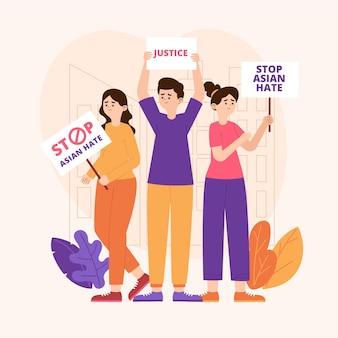 Concept de haine asiatique plat stop illustré