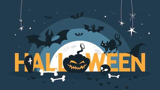 Concept d'halloween heureux. célébrer les vacances. citrouille effrayante et cercueil noir. décoration drôle. illustration