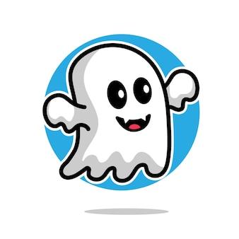 Concept d'halloween d'illustration de dessin animé fantôme mignon