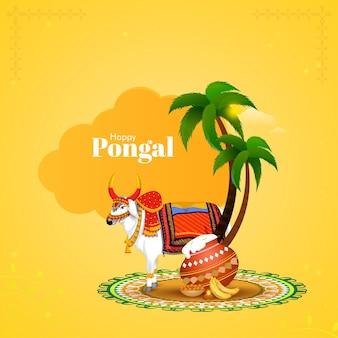 Concept happy pongal avec caractère décoratif de boeuf