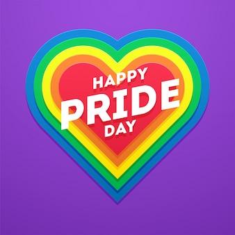 Concept happy pride day en forme de cœur pour la communauté lgbtq.