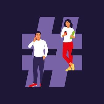 Concept de hashtag et de médias sociaux. jeunes avec symbole hashtag .. plat isolé.