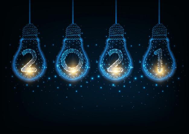 Concept de haute technologie futuriste bonne année avec des ampoules polygonales lumineuses et lumineuses