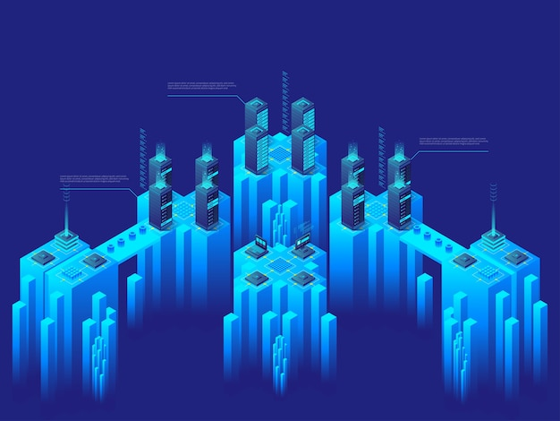 Concept de haute technologie. supercalculateur. big data center. serveurs informatiques en réseau. marché de la crypto-monnaie. illustration isométrique détaillée.