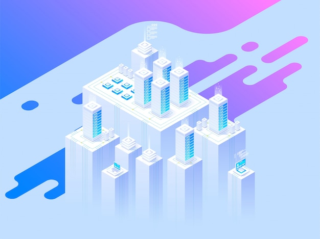 Concept d'hébergement avec stockage de données en nuage et salle des serveurs. rack de serveurs avec cloud. modèle d'en-tête. illustration en style isométrique