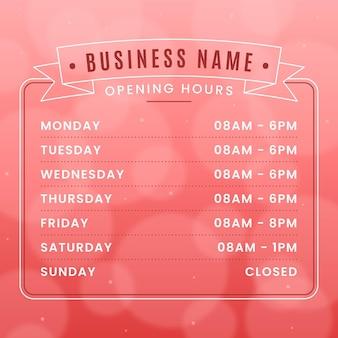 Concept d'heures d'ouverture des entreprises