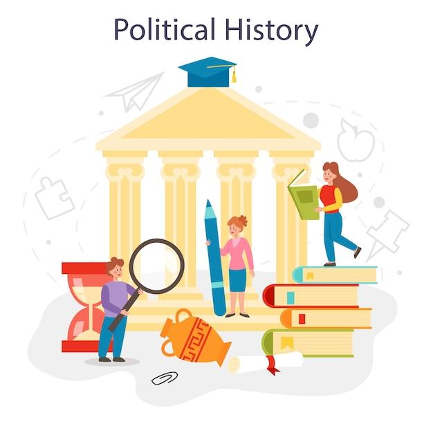 Concept d'histoire politique idée de matière scolaire d'histoire de la science