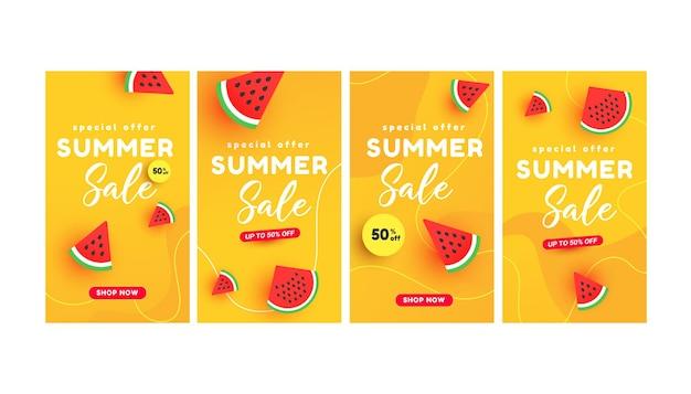 Concept d'histoires de bannière de vente d'été avec des tranches de pastèque mûres