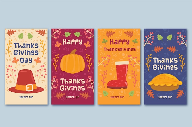 Concept d'histoires instagram jour de thanksgiving