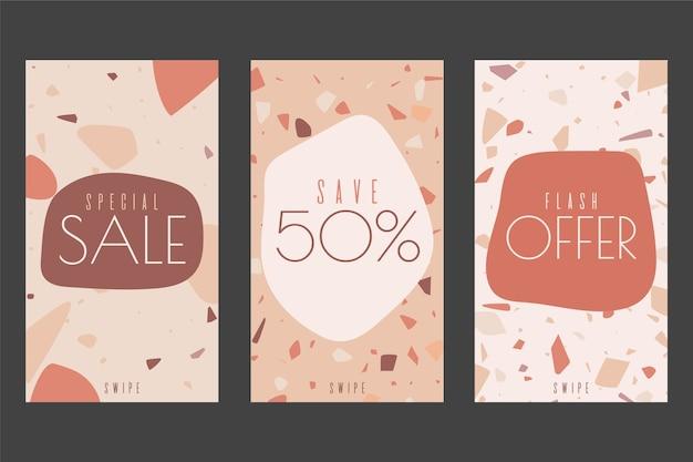 Concept d'histoires instagram avec thème de vente en terrazzo et style de dessin