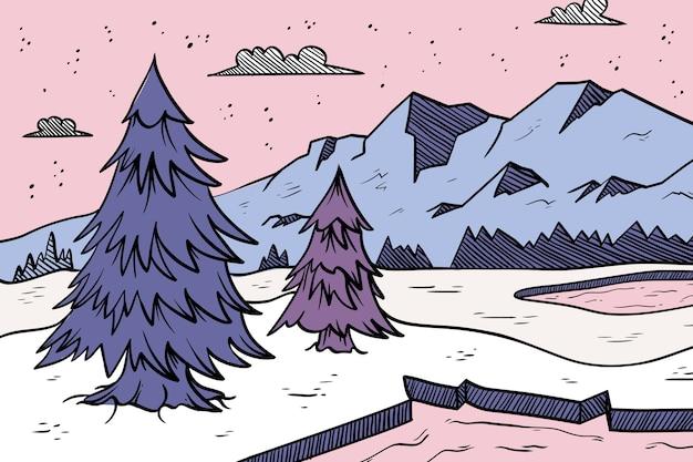Concept d'hiver dessiné à la main