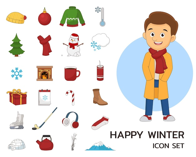 Concept d'hiver heureux icônes plates.