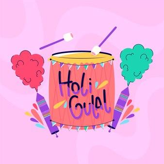 Concept holi gulal dessiné à la main