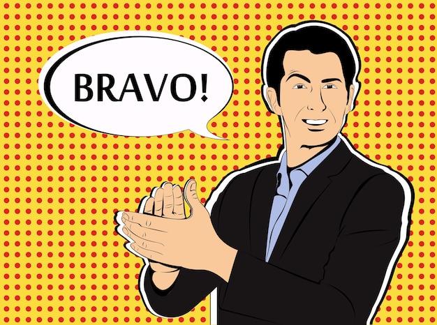 Concept d'homme d'affaires applaudissement