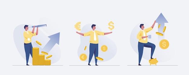 Concept d'homme d'affaires dans la finance, la croissance des entreprises et l'investissement. illustration vectorielle