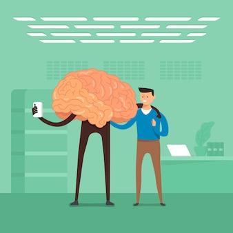 Concept homme d'affaires formation cerveau dans les laboratoires. illustrer.
