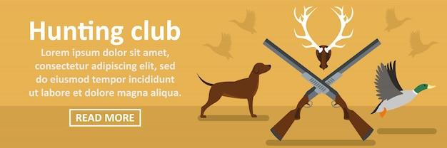Concept horizontal de bannière de club de chasse