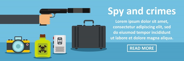 Concept horizontal bannière espion et crimes