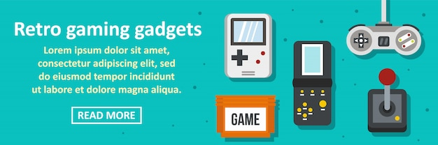 Concept horizontal de bannière gadgets de jeu rétro