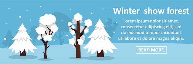 Concept horizontal de bannière hiver forêt spectacle