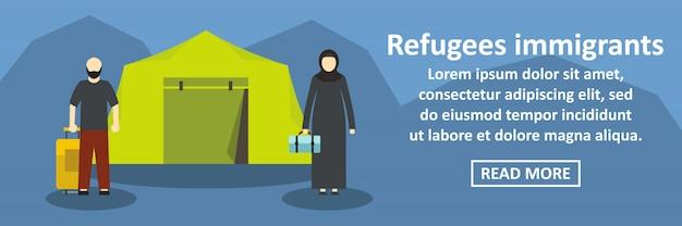 Concept horizontal de bannière d'immigrants réfugiés