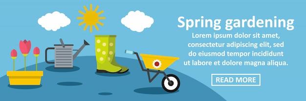 Concept horizontal de bannière de jardinage de printemps