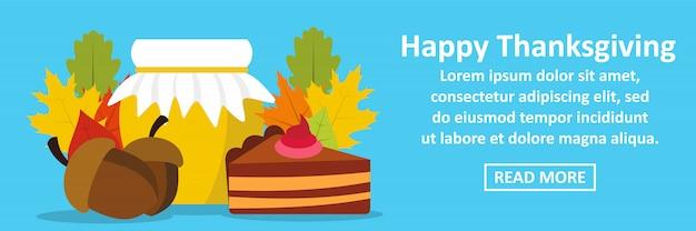 Concept horizontal de bannière de joyeux thanksgiving