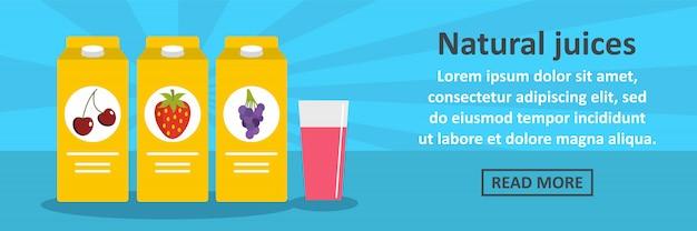 Concept horizontal de bannière de jus de fruits naturels