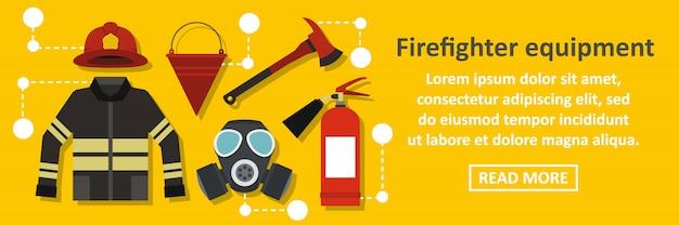 Concept horizontal de bannière de matériel de pompier