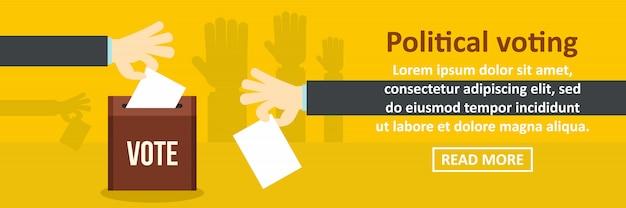Concept horizontal de bannière modèle de vote politique