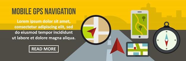 Concept horizontal de bannière de navigation gps mobile