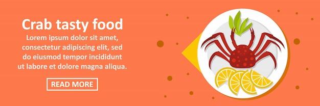 Concept horizontal de bannière de nourriture savoureuse crabe
