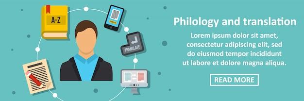 Concept horizontal de bannière de philologie et de traduction