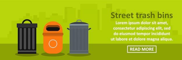 Concept horizontal de bannière poubelles de rue
