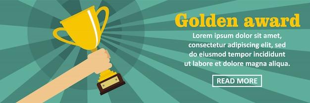 Concept horizontal de bannière de prix d'or modèle horizontal