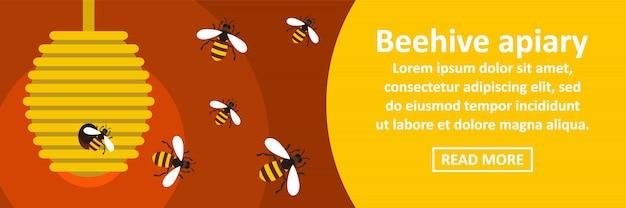 Concept horizontal de bannière rucher ruche