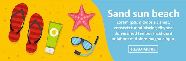 Concept horizontal de bannière sable soleil plage