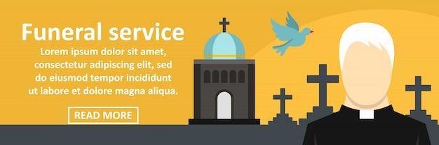 Concept horizontal de bannière de service funéraire